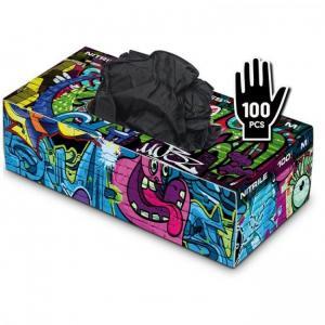 Graffiti Gloves - Nitrile - Black - кутия 100 броя